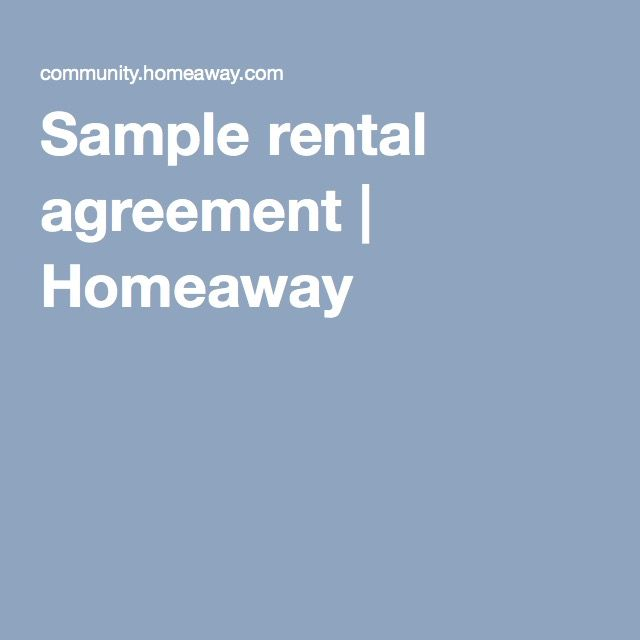 Sample Rental Agreement  Homeaway  Renting The Lake