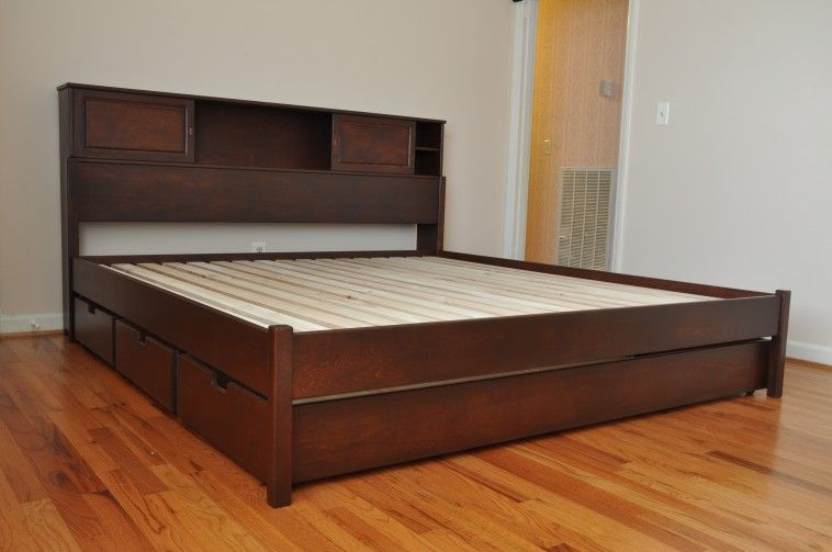 Best Brown Wooden Size Bed With Storage Head Board And Drawer 400 x 300