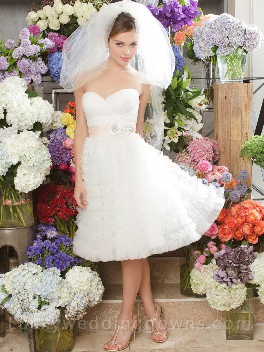 Knee length wedding dress  Ivory Tulle Cute Strapless Knee Length Wedding Dress With Draped