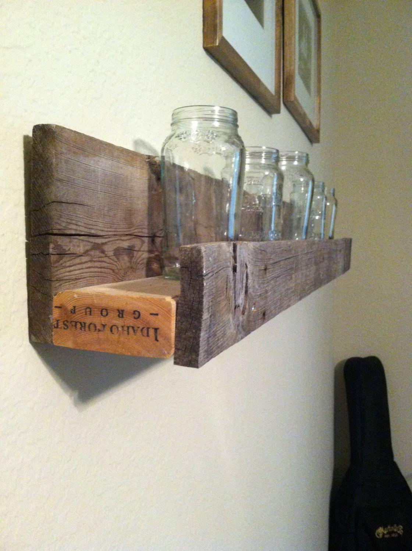 Weathered  sunken barnwood shelf. $49.95, via Etsy.