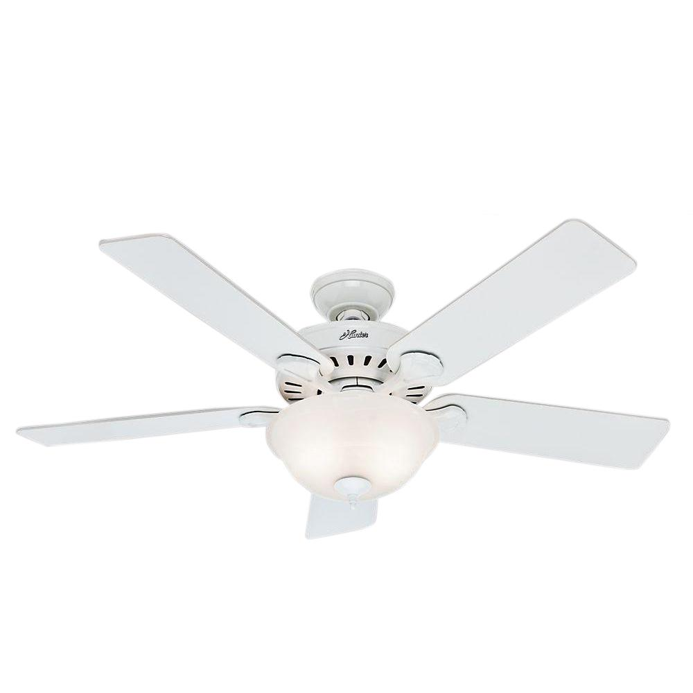 Hunter Pro S Best Five Minute 52 In Indoor Brushed Nickel Ceiling Fan With Light Kit 53249 The Home Depot White Ceiling Fan Ceiling Fan With Light Ceiling Fan
