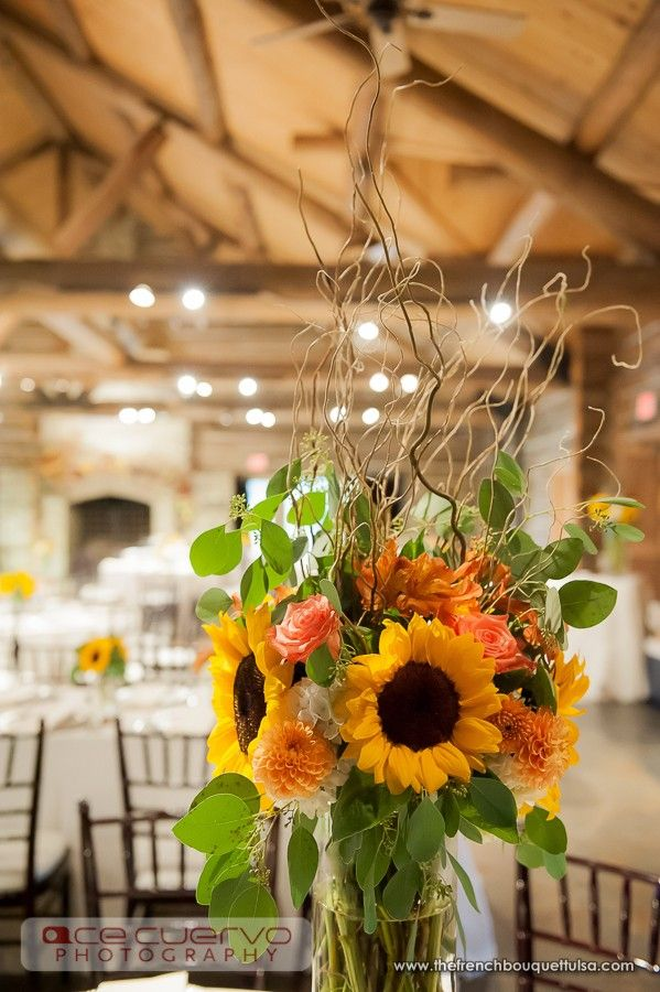 Tall Centerpiece With Sunflowers Dahlias And Roses Petite Fleur By The French Bouquet Ace