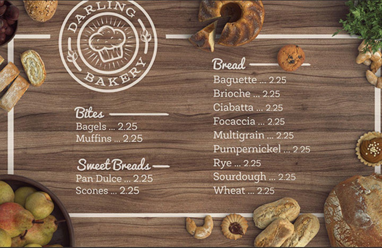 Design and mock up a tasty bakery menu bakery menu