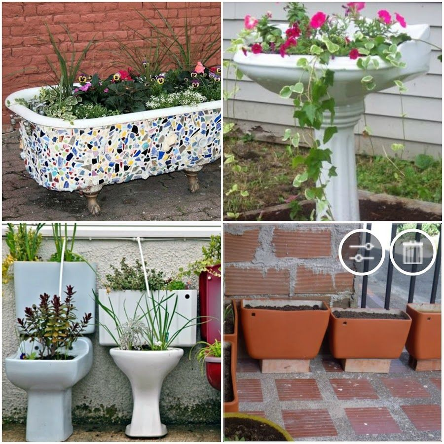 22 objetos alucinantes reciclados en macetas macetas for Objetos decoracion jardin