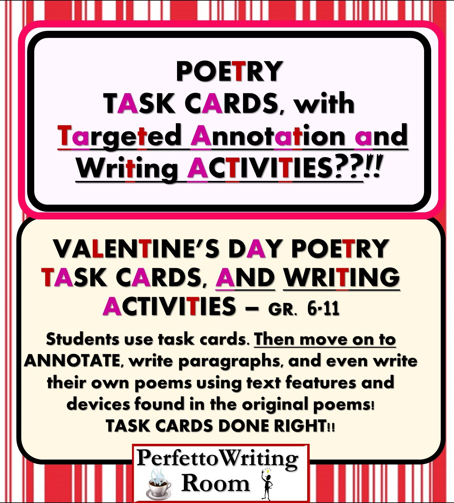 Poetry Close Read Task Cards W 3 Day Application Writing
