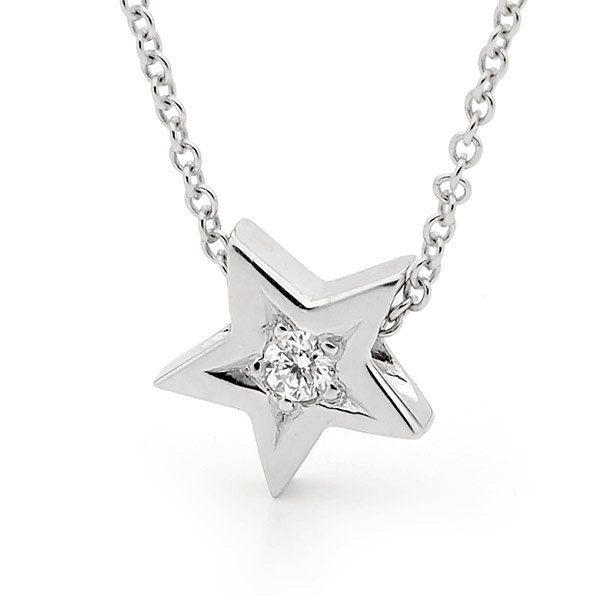 Diamond star necklace small white gold natural diamond star diamond star necklace small white gold natural diamond star pendant on 42cm white gold cable chain mozeypictures Image collections