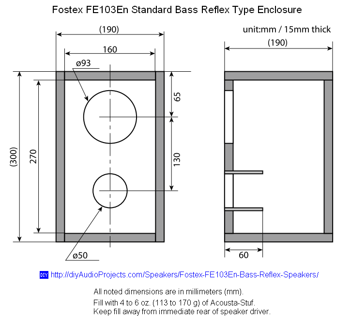 Fostex Fe103en Bass Reflex Speaker Box Plan Diy Bookshelf Speakers Speaker Plans Bookshelves Diy