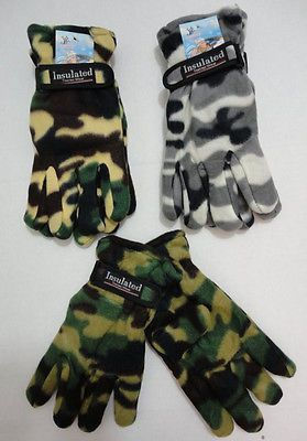 72 Pairs Mens Camo Fleece Gloves Thermal Insulated Winter BULK WHOLESALE LOT