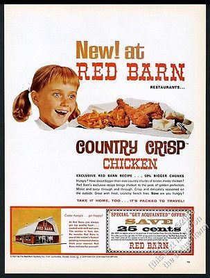 1965 Red Barn restaurant chicken dinner photo vintage print ad
