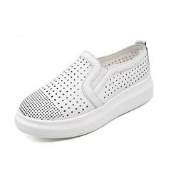 Summer Shoes For Women Casual Cut-Out Mesh Ladies Shoes Slip On Platform White Black Flat Sandals Breathable Mesh Lazy Loafers - white / 5