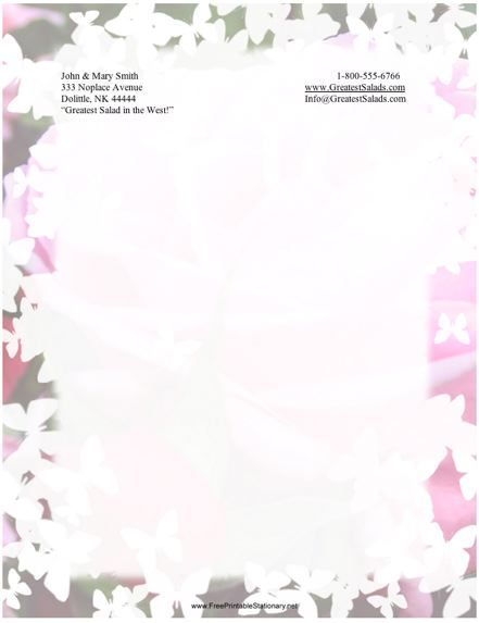 This printable stationery has a rose and butterfly border Free to - free paper templates with borders
