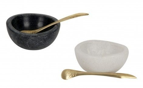 For the Happy Hostess: Marble Salt And Pepper Cellars by Jayson Home