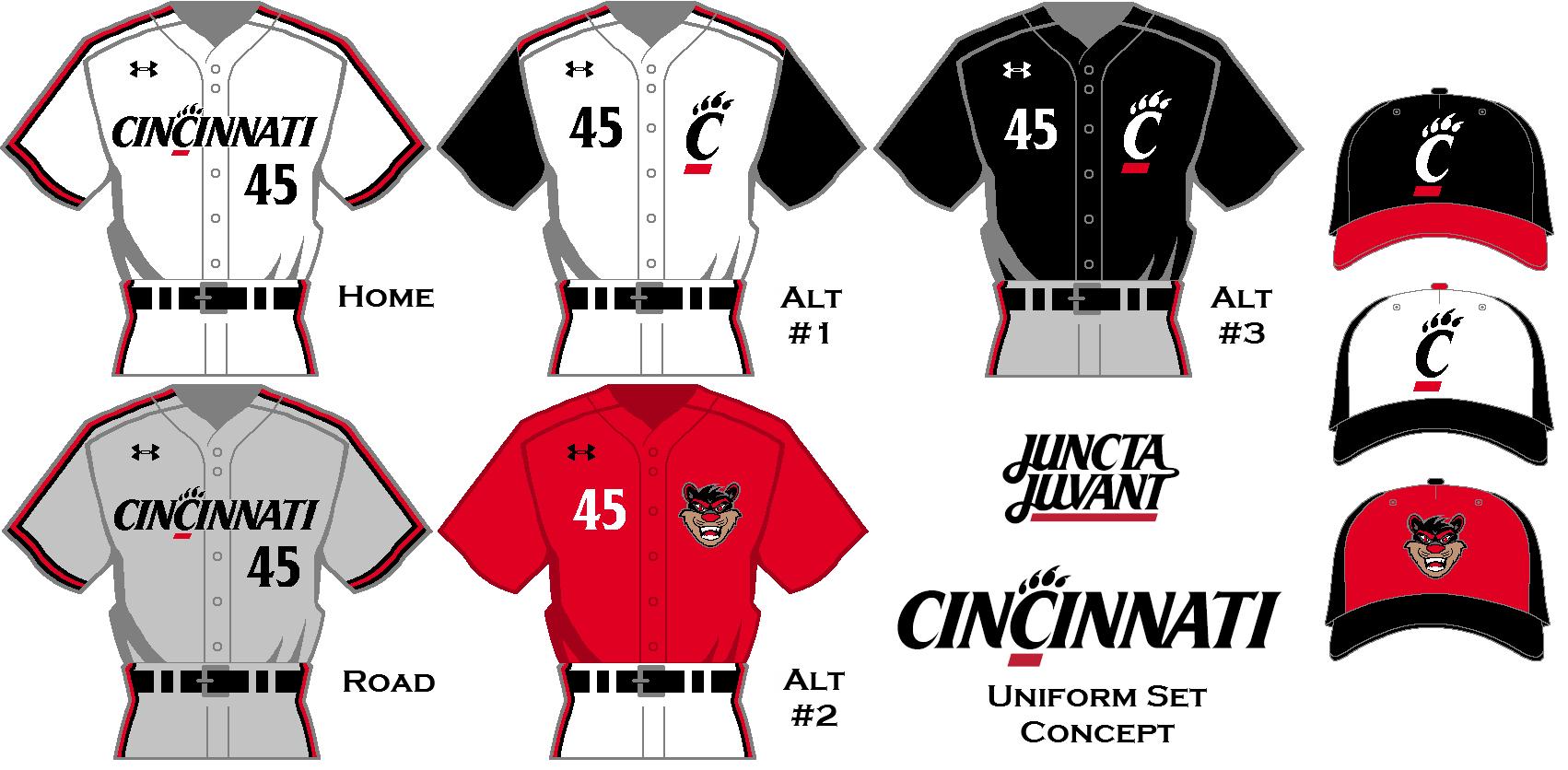more photos 66a46 df073 Cincinnati Bearcats Baseball Uniform Set Concept. Using a ...