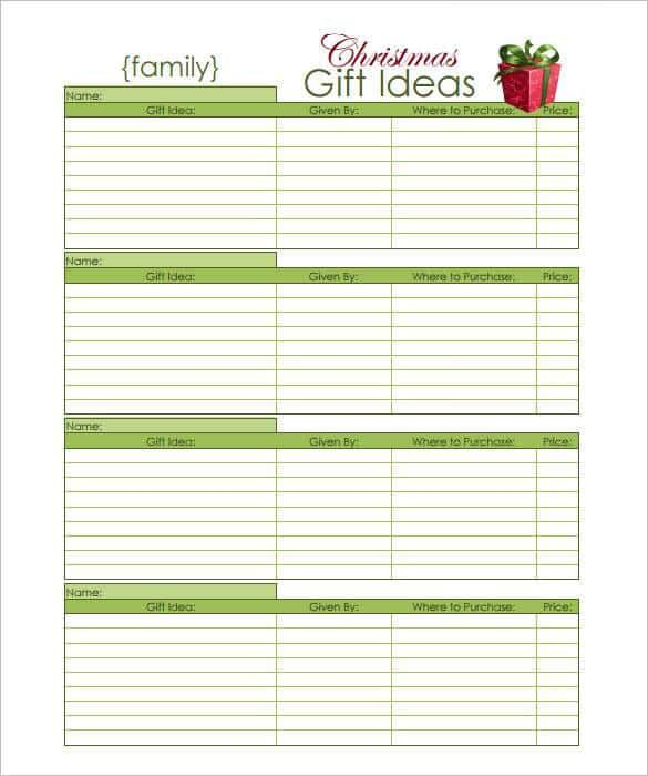 Family Christmas Gift Ideas List PDF Download , 24+ Christmas Wish - christmas list templates