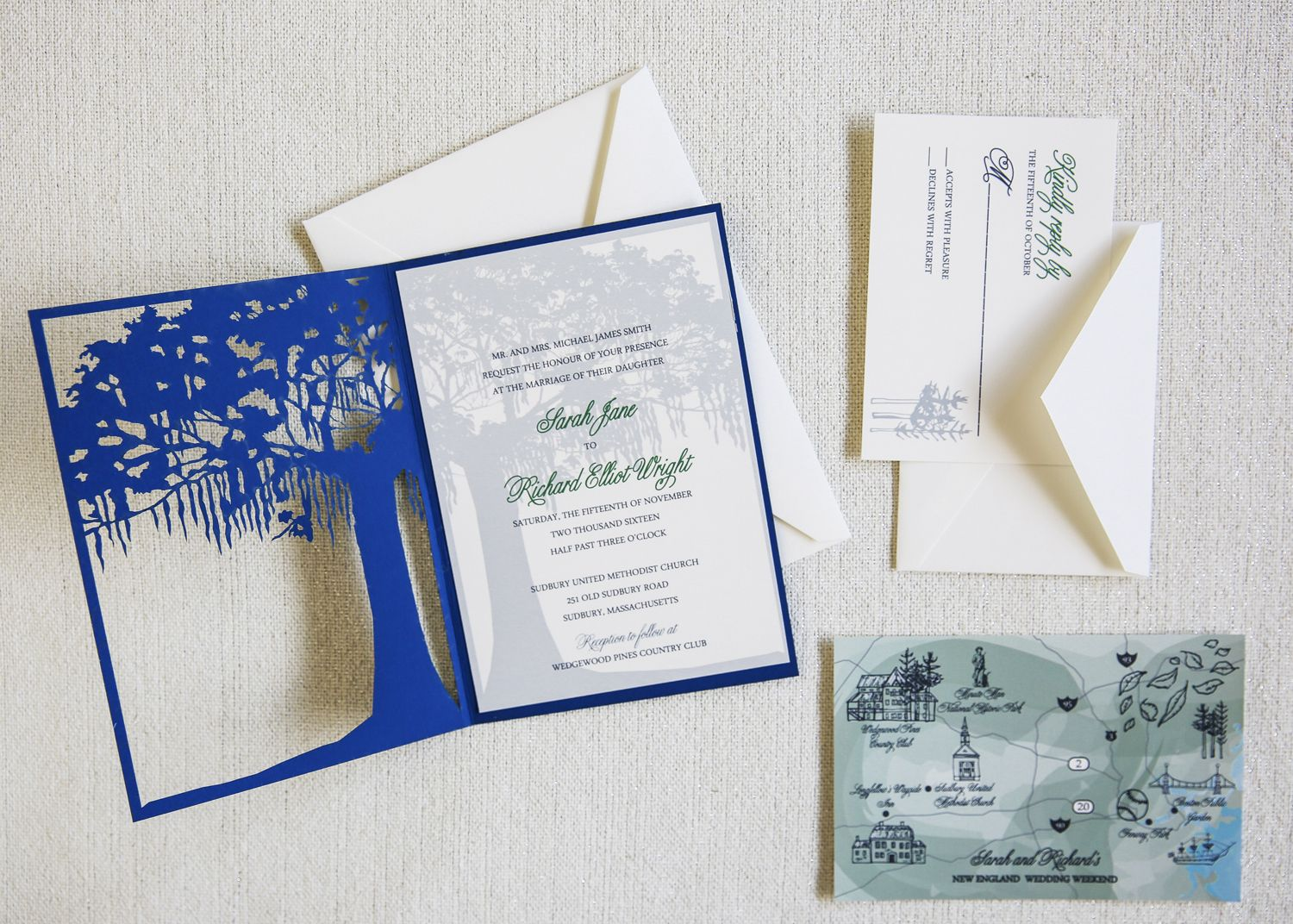 Laser cut tree invitation by dodeline with spanish moss charleston laser cut tree invitation by dodeline with spanish moss charleston tree folding over wedding invite stopboris Images