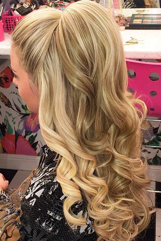 Nice Holiday Half Up Hairstyles For Long Hair Lovehairstyles Com Down Hairstyles For Long Hair Hair Styles Curly Homecoming Hairstyles