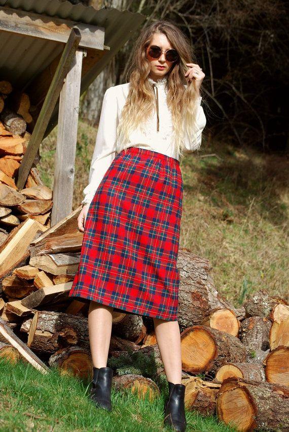 Vintage PENDLETON Red Plaid Wool Skirt School by SurfandtheCity