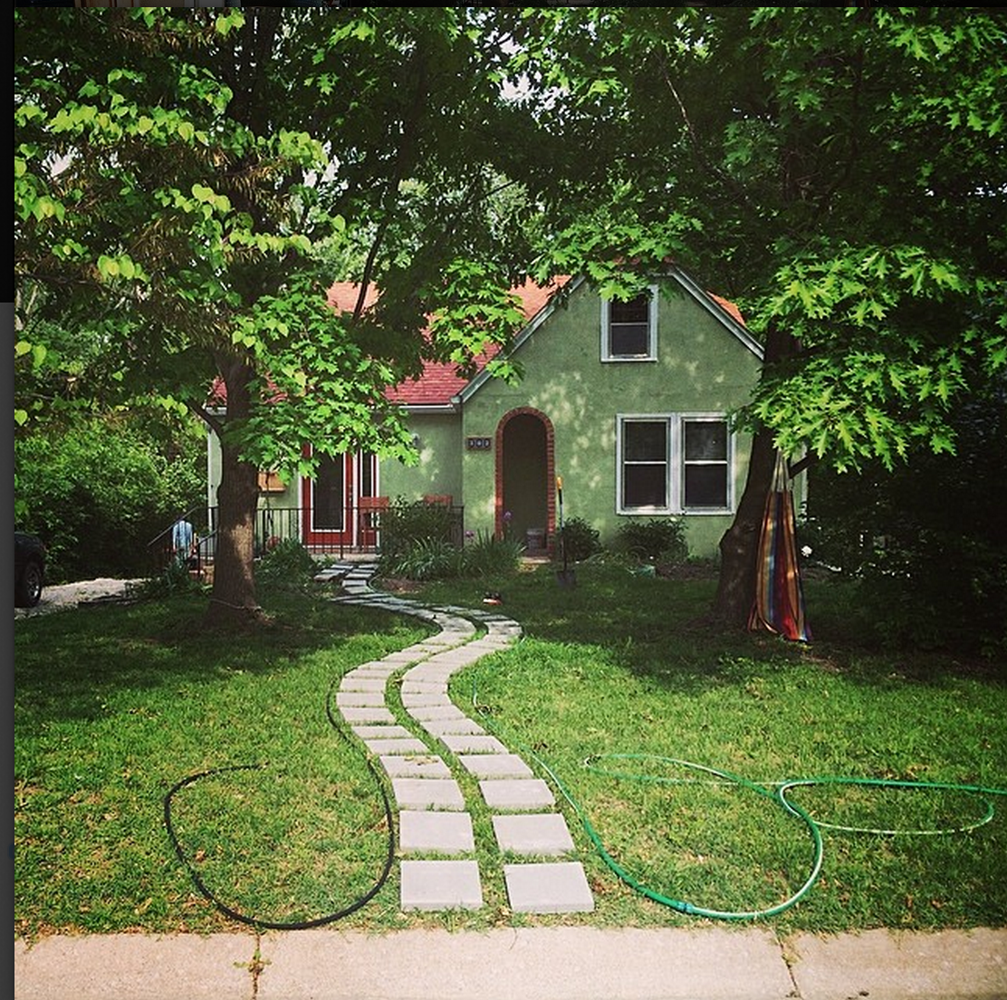curved paver stone path
