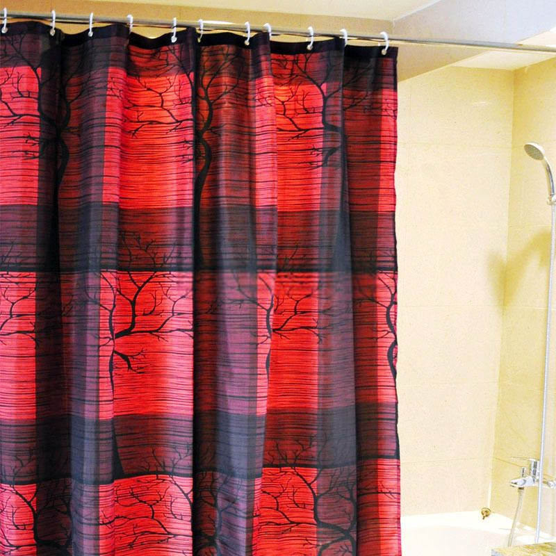 Black And Red Shower Curtains Di 2020 Hidup