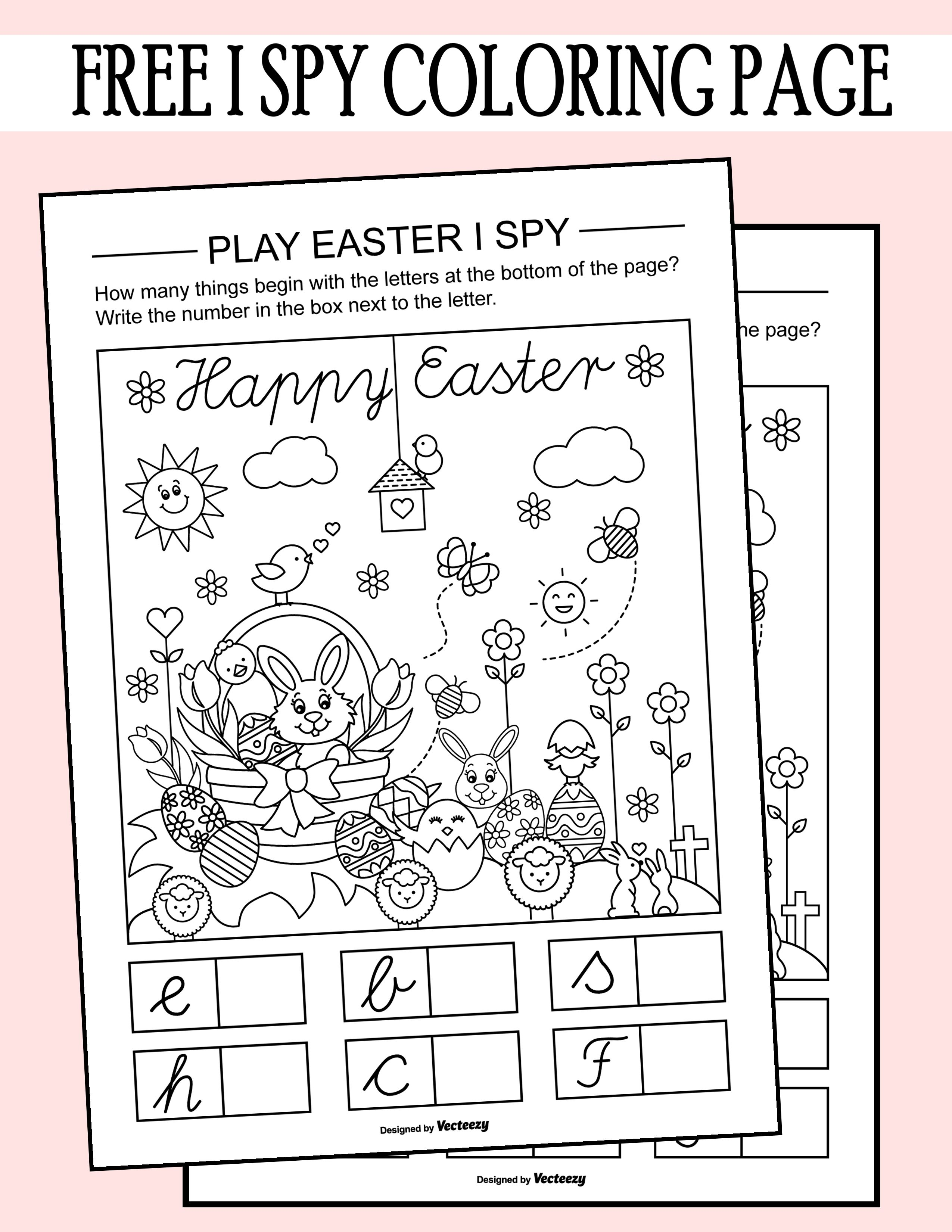 easter i spy coloring page printable worksheet  coloring