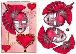 Valentine Masque & Heart+ Decoupage