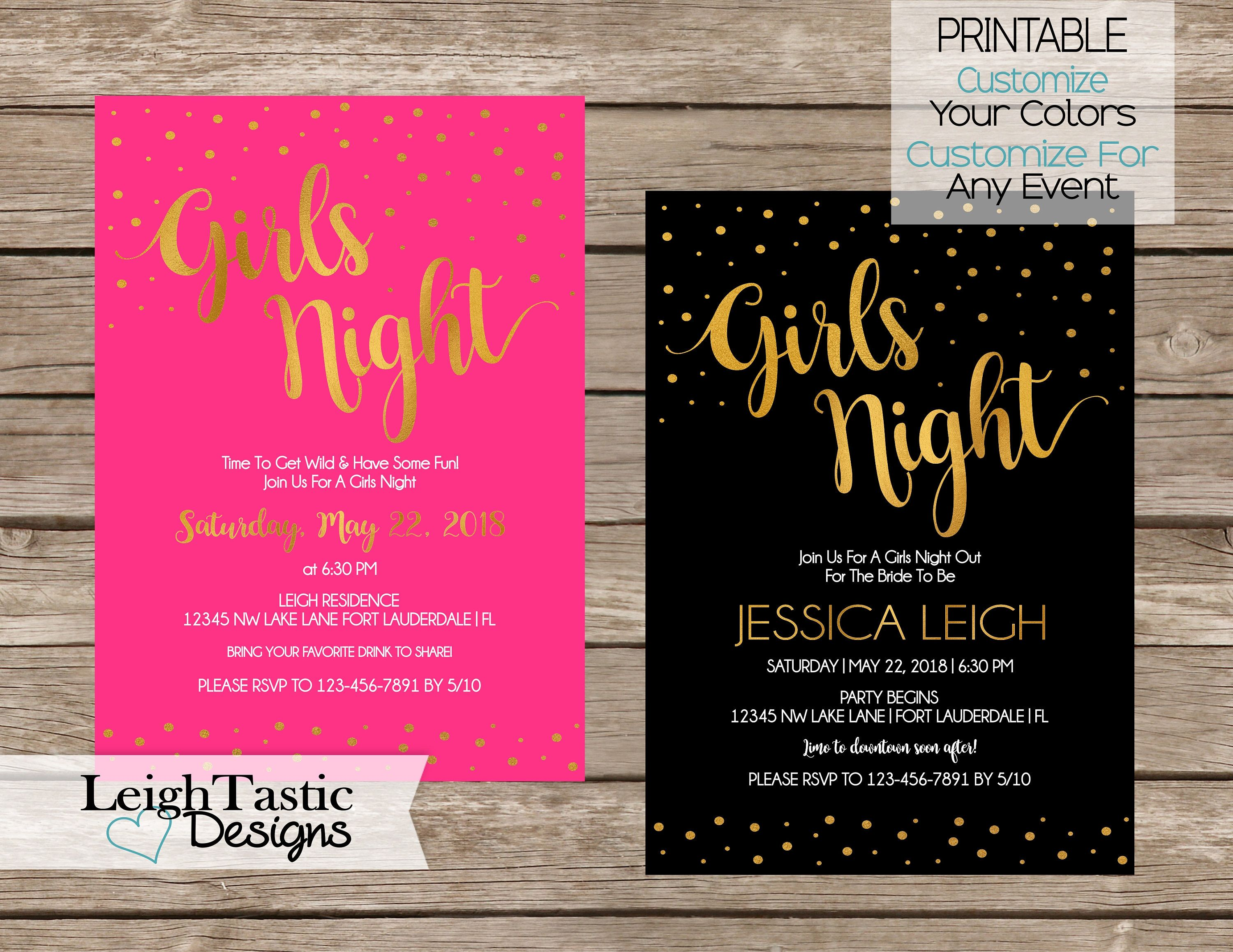 PRINTABLE Girls Night Invitation Event Invitation Bachelorette