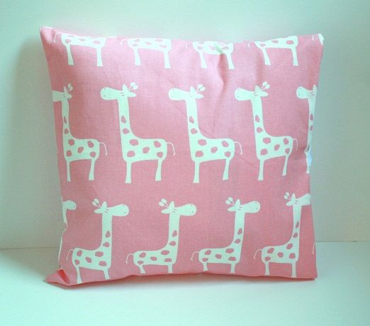 Baby Pink giraffe pillow, nursery giraffe pillow, baby girl giraffe pillow - all sizes 16 x 16, 18 x 18, 20 x 20, 24 x 24, 26 x 26, 27 x 27 on Etsy, $16.00
