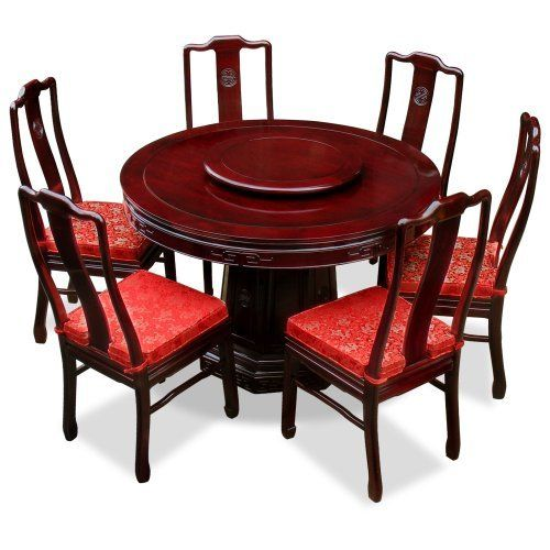 48in Rosewood Round Dining Table With 6 Chairs Chinese Longevity