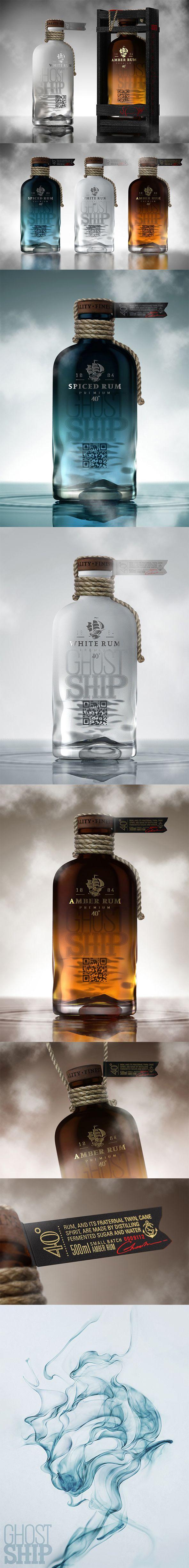 Ghost Ship Rum Un autre logo avec un voilier. La corde est présente sur la bouteille, mais pas dessinée. Intéressant.