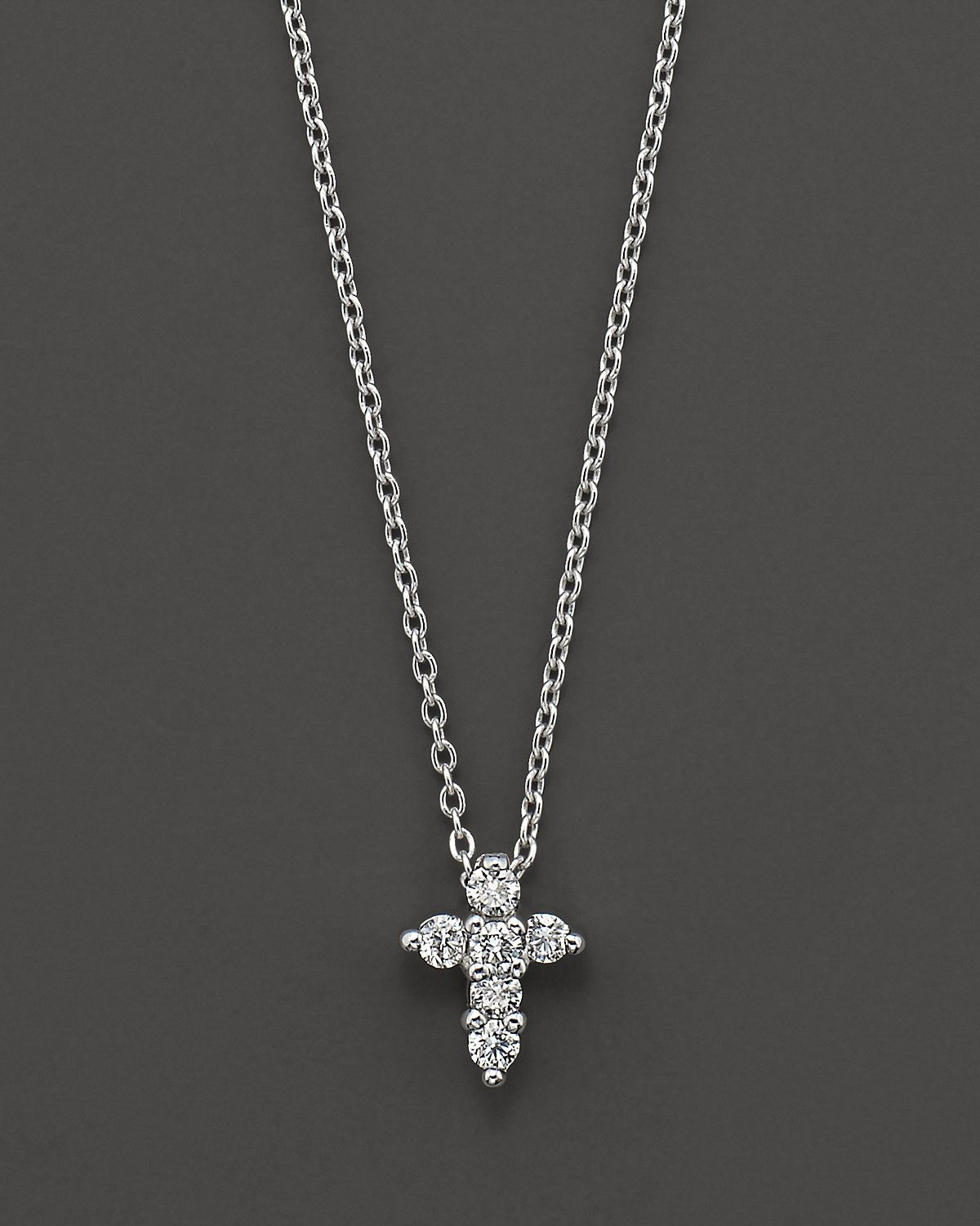 370be82cb882a 18K White Gold Small Cross Pendant Necklace with Diamonds, 16 in ...