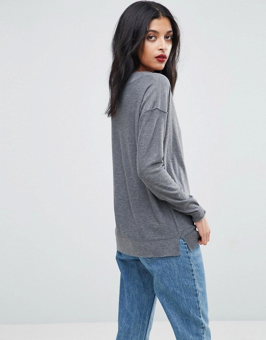 ASOS Boyfriend Sweater With V Neck - Gray | Boyfriends and Products