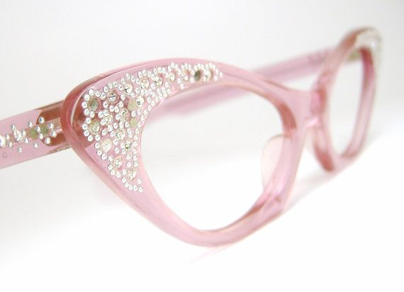 Vintage Pink Cat Eye Eyeglasses Eyewear Glasses Sunglasses