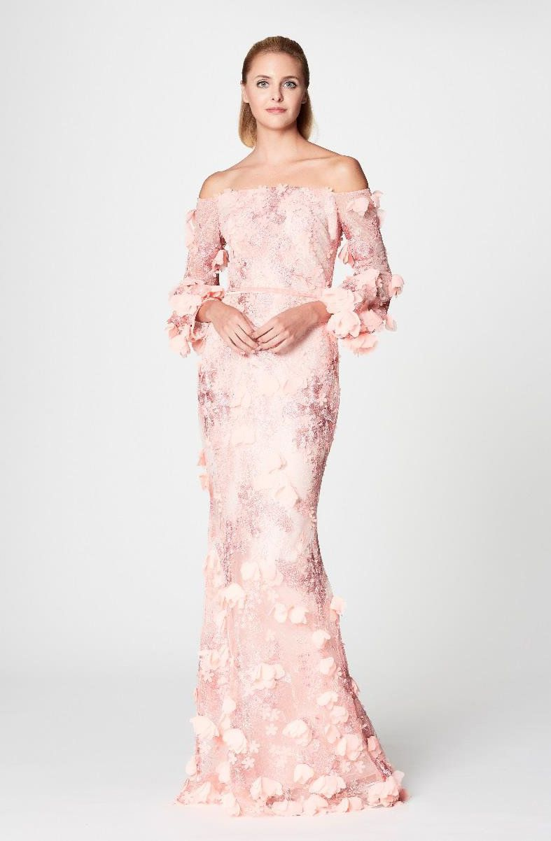 Marchesa Notte Pink Off Shoulder Embroidered Gown Marchesanotte Cloth