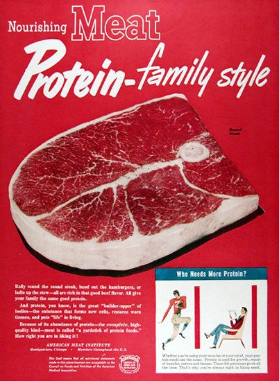 American Meat Institute 1950 Protein-Family Style - www.MadMenArt.com   Through this graphic art, we witness economic upturns, encounter delighted people and catch a glimpse inside fully stocked refrigerators. #Advertisement #Goods #Vintage #Ads #VintageAds #VintageGoods