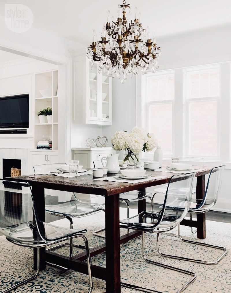 chandeliers tips perfect dining room. Create The Perfect Dining Setting With A Rustic Wooden Table Paired Clear Acrylic Ghost Chairs Chandeliers Tips Room H