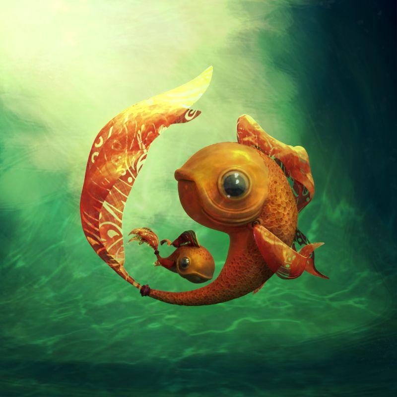 Gold Fish&fish, CG Sphere, Leslie Belot