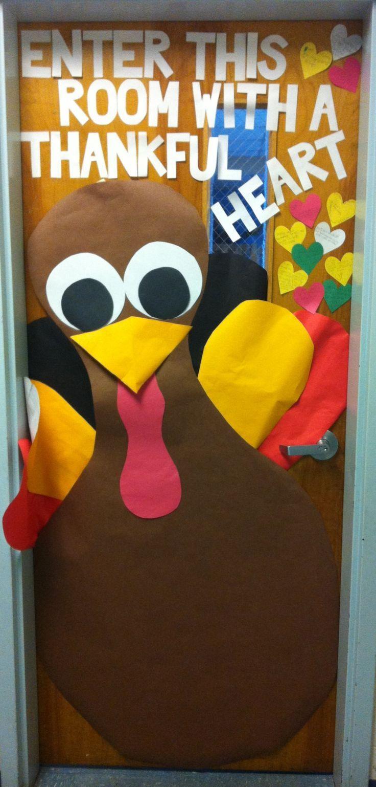 Teacher door Thanksgiving turkey Back to school Pinterest - classroom door halloween decorations