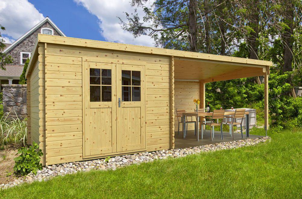 Details zu 28 mm Gartenhaus mit Anbau Gerätehaus Blockhaus