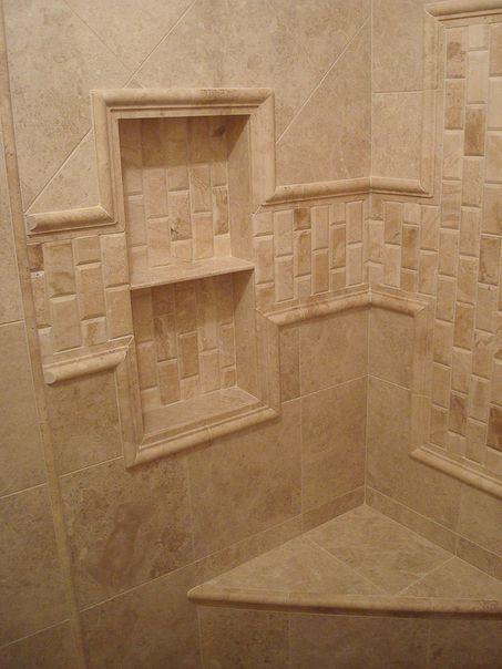Bathroom Shower Tile Interesting Pattern Shelfs Wow