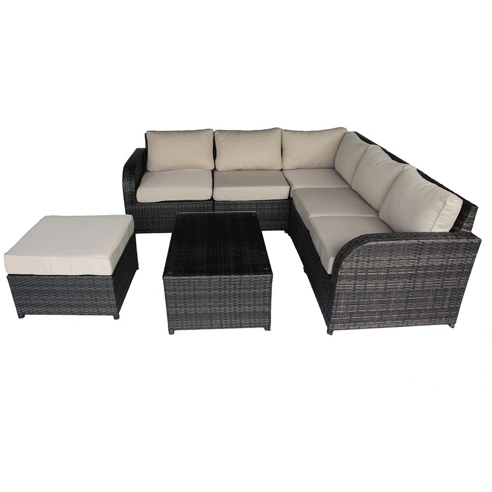 Buy Luxo Nevin 7 Piece Modular Wicker Outdoor Sofa Lounge Setting - Brown  Online Australia - Luxo Nevin 7 Piece Modular Wicker Outdoor Sofa Lounge Setting