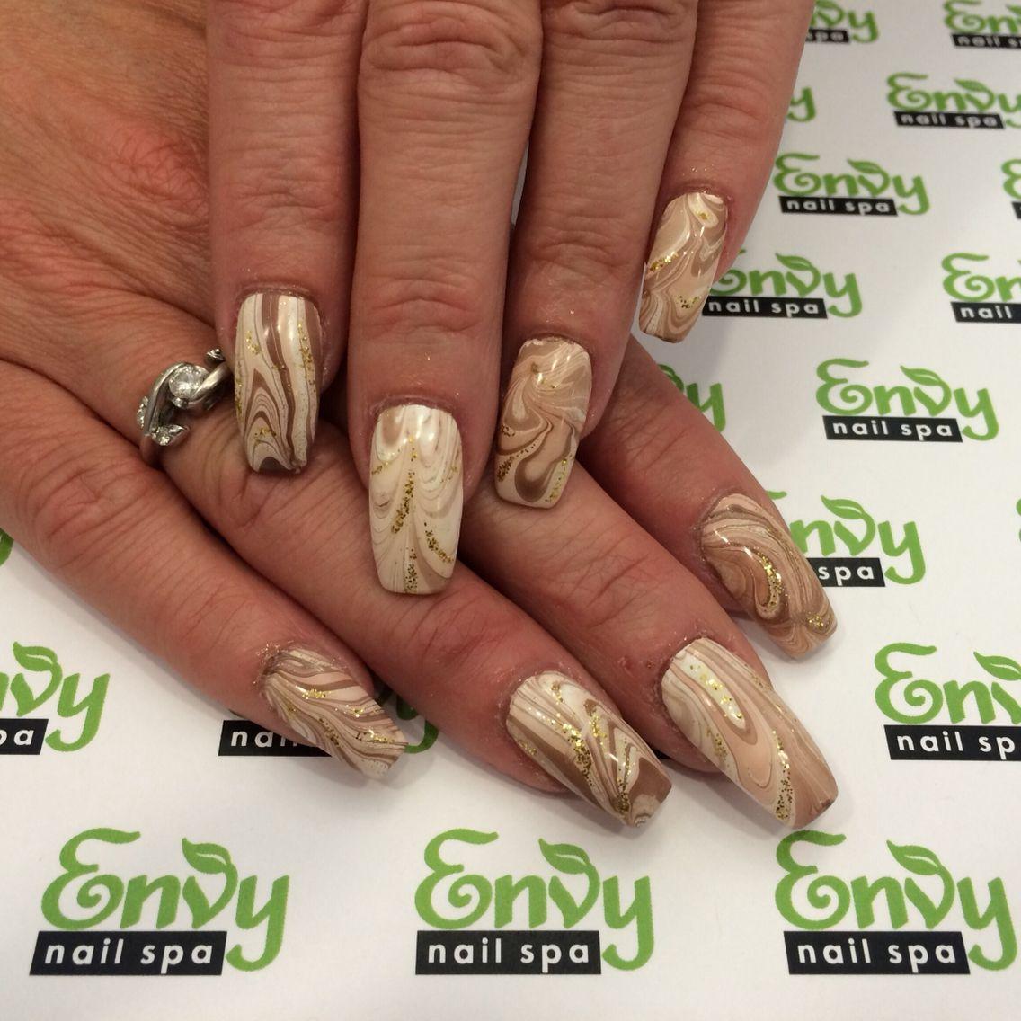 Gold, Tan, Nude, Water Marble Nails - Envy Nail Spa | Abstract ...