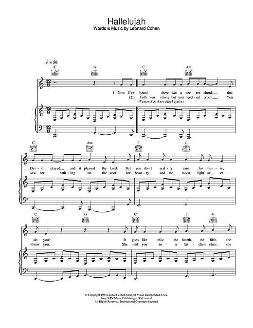 Beliebt Leonard Cohen: Hallelujah sheet music for piano, ukulele, choir  DL25