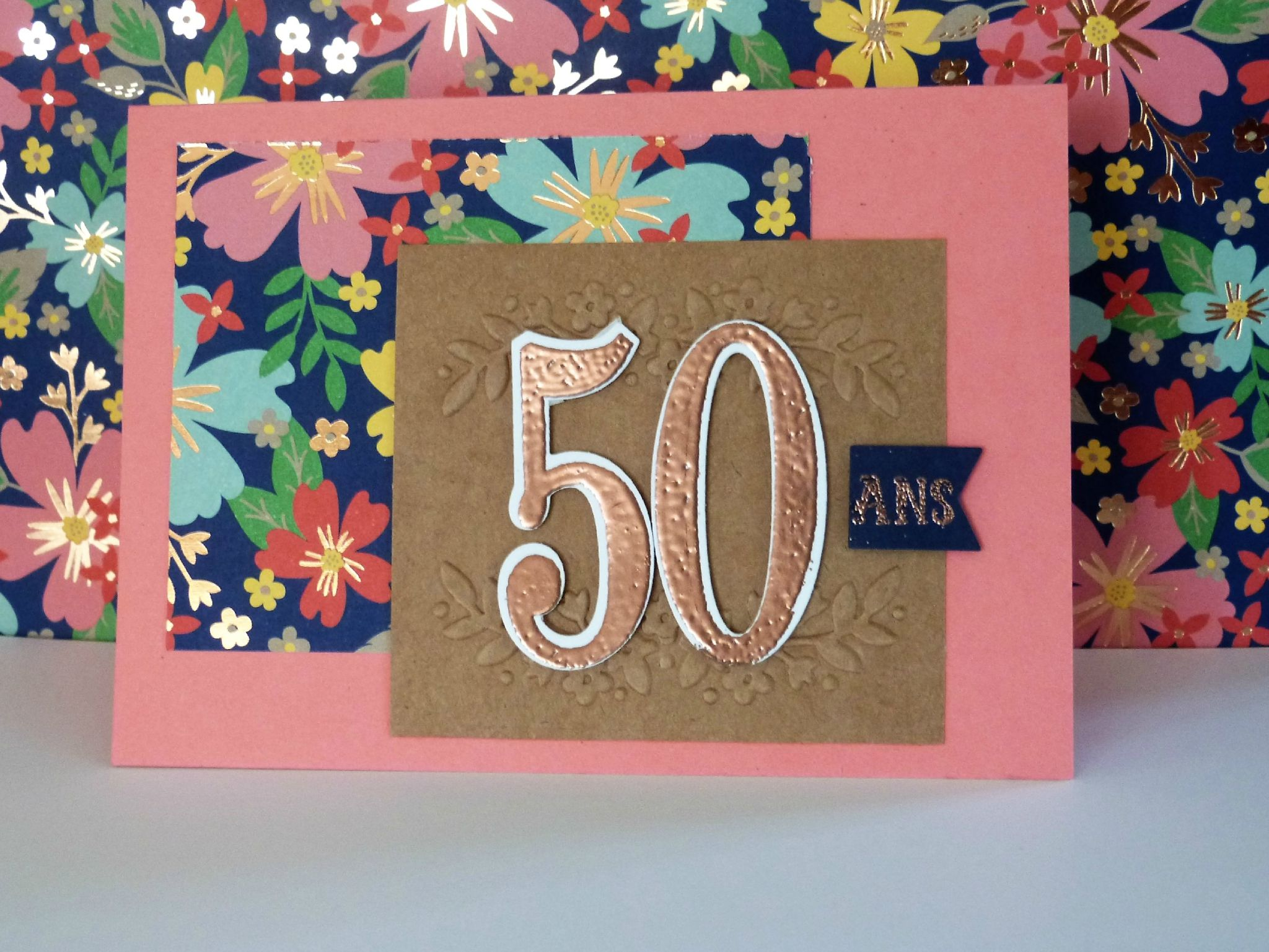 Carte d'anniversaire, stampin'up, Papier de la série affectueusement, Plioir à gaufrage tendresse florale, au fil des ans, fannystamp31