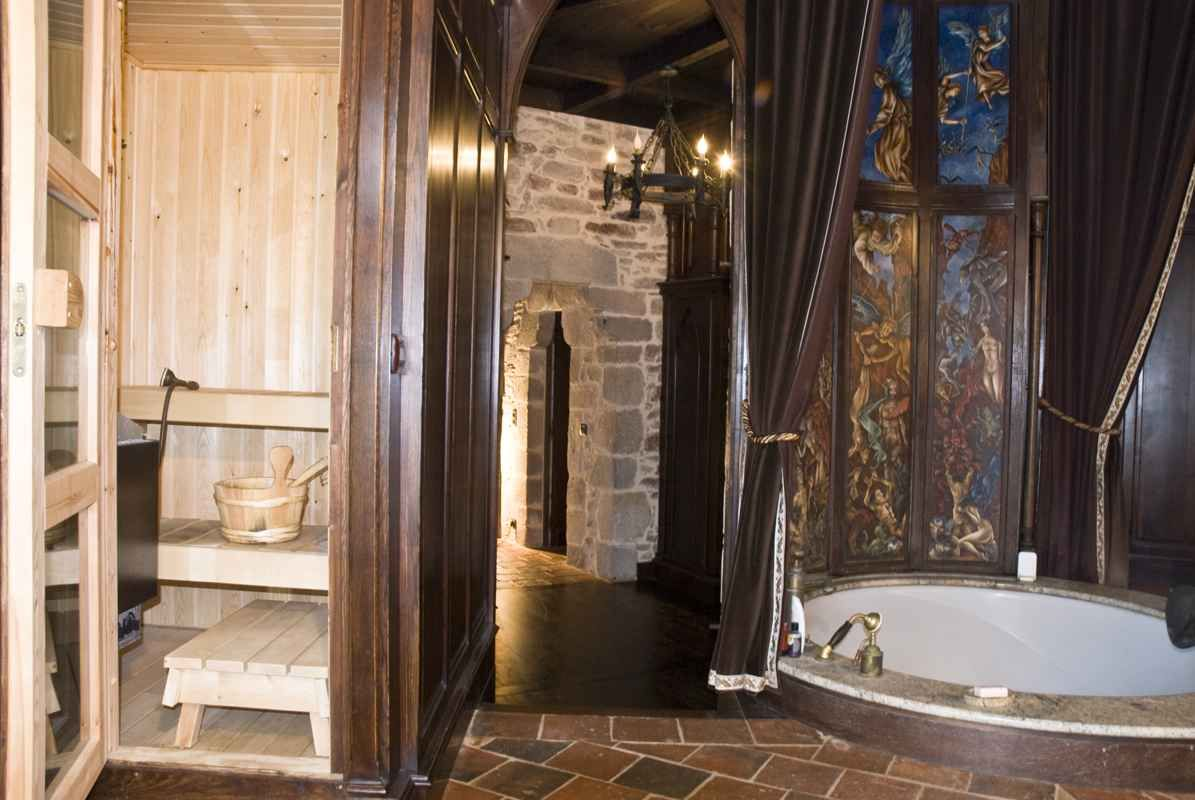 Master bathroom sauna in a castle no less montbrun for Master bathroom with sauna