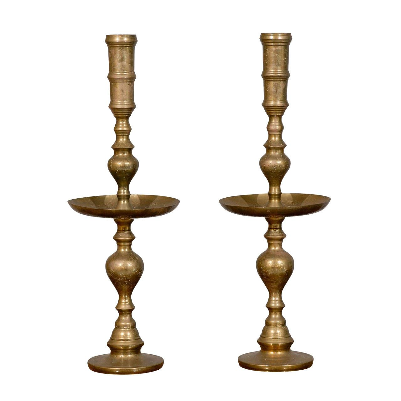 Tall pair of mid century brass candlesticks mid century modern