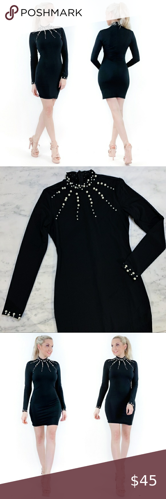 Classy Black Dress With Pearls Black Dresses Classy Bodycon Fashion Flair Dress [ 1740 x 580 Pixel ]