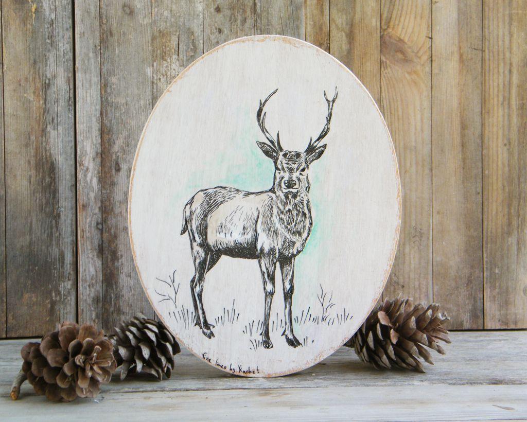 Deer decor round wood sign deer print on wood rustic wall sign