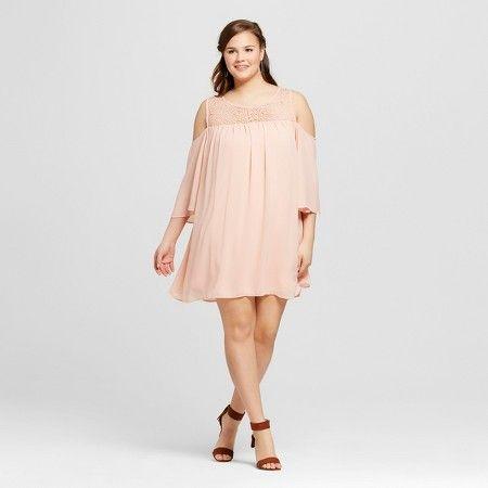 a4987efa93f Women s Plus Size Chiffon Cold Shoulder Shift Dress Blush - 3Hearts   Target