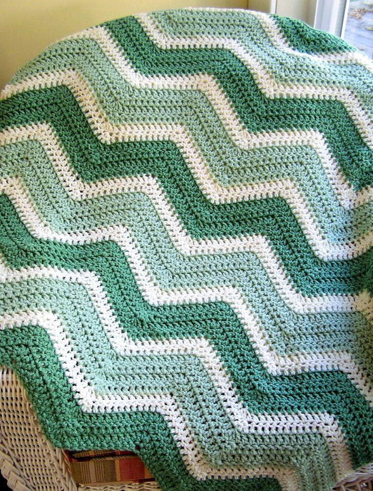 CROCHET chevron ripple handmade knit baby blanket afghan WAVERLY ...