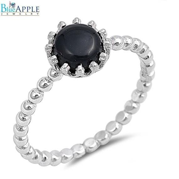 Black Onyx Eternity Style Band .925 Sterling Silver Ring Sizes 3-10